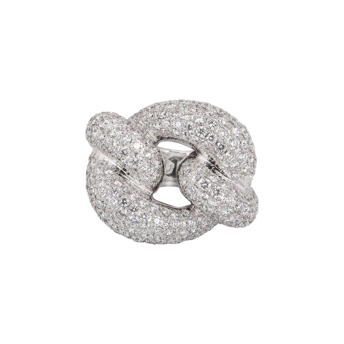 White Gold Diamond Knot Ring